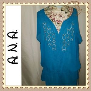 A. N. A.  Women's Plus Gathered Tunic Top